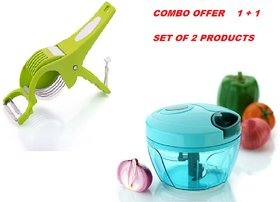 combo of Handy Chopper with 3 Blades (350ML) Cutter for Kitchen and  2 in 1 veg cutter combo