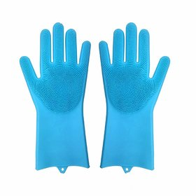 S4D Magic Silicone Gloves Wash Scrubber Gloves Reusable Cleaning Brush Gloves Heat Resistant Scrub Rubber Glove for Dish