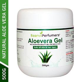 Saanvi perfumers Pure  Natural Aloe Vera Gel 500g for Skin Care, Face, Sunburn, Fights Aging, Stretch Marks, Acne Sca