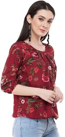 Ft Red Flower Printed Top