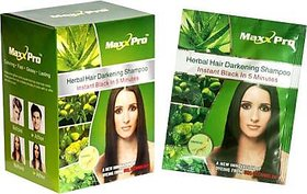 MaxxPro Genuine Professional Hair Darkening Shampoo based Dye (10 Pouches)