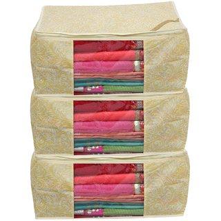 saavi creation designer saree cover/saree bag set of 3 pcs 23cm height combo scgpf01 (Golden Printed)