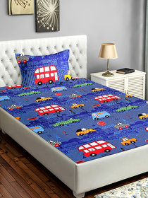 Bsb Home 160 Tc Kids Single Bedsheet With 2 Pillow Covers Size(90X60) Inches,Colour-Red&Blue