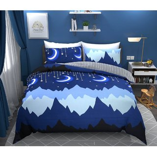 Bsb Home 160 Tc Kids Double Bedsheet With 2 Pillow Covers Size(90X90) Inches,Colour-Blue