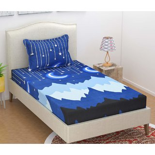 Bsb Home 160 Tc Kids Single Bedsheet With 2 Pillow Covers Size(90X60) Inches,Colour-Blue