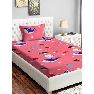 Bsb Home 160 Tc Kids Single Bedsheet With 2 Pillow Covers Size(90X60) Inches,Colour-Pink