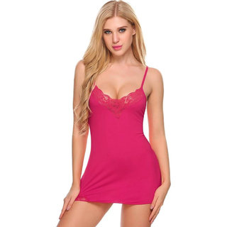 PYXIDIS Viscose Fabric and Lace Babydoll Dress with Panty for Women and Girls