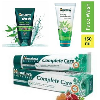Himalaya Combo Of Neem Face Wash, Men Pimple Clear Neem Facewash 100Ml & Complete Care Toothpaste 150G