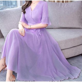 Raabta Fashion Women'S Purple Plain Georgette Round Neck Maxi Dress