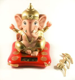 JonPrix Solar Ganesha Statue for Home, Office, Car Ganpati Bappa Moving Hands