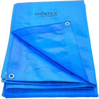 Mipatex Tarpaulin Sheet Waterproof Heavy Duty 30ft x 18ft,  with Aluminum Eyelets - 150 GSM Poly Plastic Cover  (Blue)