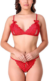 FEIJOA Women Lace Lingerie Set of Panty Bra