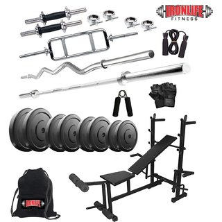 Sporto Fitness Rubber 30 Kg Home Gym Set with One 3 Ft Curl+One 5 Ft Plain Rod and One Pair DRods Comes with 8 IN 1Bench