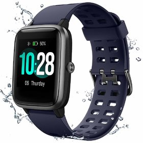 Bushwick IP68 Waterproof Fitness Tracker for Swimming 1.3'' Large Color Full Touch Screen Smartwatch.