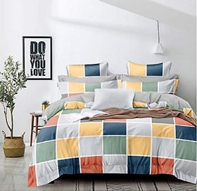 Home Artists Glace Cotton Printed Double Bed Bedsheet with 2 Pillow Cover - 90x100 Inches (Vibrant_Checks). TC:130