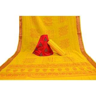 Prijam Women's Yellow Block Print Print Salwar Suit Material