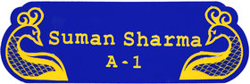 Acrylic blue and yellow Villa home name plate