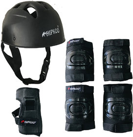 Hipkoo Sports Rider Skating Protective Set With Elbow, Knee, Wrist Guards And Helmet (Large)