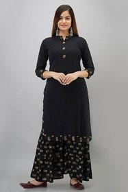 Dhruvi Women Rayon Printed Black kurta Sharara Set