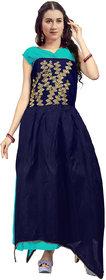 Saadhvi Sky Blue Bangalore Silk Embroidered Semi Stitched Gown