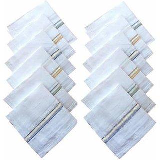 Men's Premium White Cotton Handkerchief Hankies (Multicolour) Pack of 6