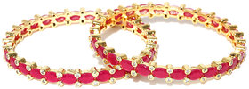 Jewels Galaxy Exclusive Traditional Pink Ruby Designed Elegant Gold Plated Slim Bangle Set For Women/Girls - Set Of 2