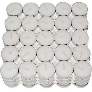 Tea Light Candle(10) Candle (White, Silver, Pack of 10)