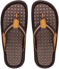 Fausto Men's Brown/Tan Casual Slip On Outdoor Slipper Flip Flops