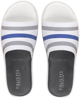 Fausto Men's White/Blue Casual Slip On Slider Thong Flip Flops