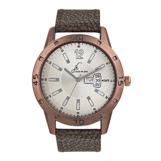 Jack klein Day and Date Coffee Synthetic Leather  Watch for Men