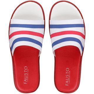 Fausto Men's Red/Blue Casual Slip On Slider Thong Flip Flops