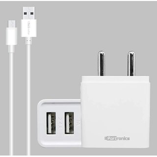 Portronics Adapto 646 3.1A Fast Charging Dual USB Port Wall Adapter with 1M Micro USB Charging Cable  White  Adapters   Chargers