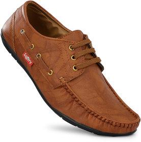 Gulass Wick Men Tan Lace-up Loafers