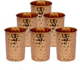 R K HANDICRAFTS Water Bottle  100 Pure Hammered Copper Glass set of 6pcs