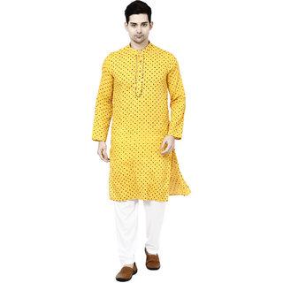 Prijam Men's Yellow Long Straight Fit Kurta
