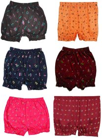 Fashionable Cliq Cotton Multicolor Printed Bloomer Drawer Panties For Girls Pack Of 6