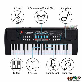 37 Key Bigfun Key Board Piano Keyboard Toy for Kids with Microphone Dc Power Option Recording Charger not Included Best