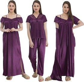 Women Nighty Set (Pack of 4) Purple Nighty-PURPLE