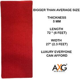 AXG Goal Anti Skid Multi Purpose Yoga Mat (6 x 2.3 ft) Red