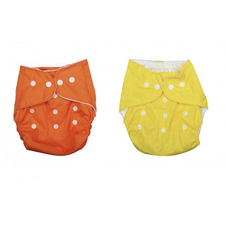 Child Chic Quirk Reusable Baby Washable Cloth Cotton Diaper (PACK OF 2/ ORANGE AND YELLOW)