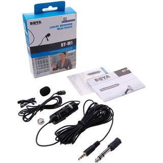 Boya BY-M1 Dual Lavalier Universal Microphone with a Single 1/8 Stereo Connector, 13ft Cable for Cameras and Smartphone