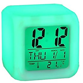 Square Color Changing Digital Lcd Alarm Desk Clock With Calender Time Temperature Lights