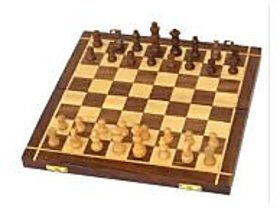 Wooden Handmade Standard Classic Chess Board Game Foldable Size 12 inches (Non-Magnetic) by Desi Karigar