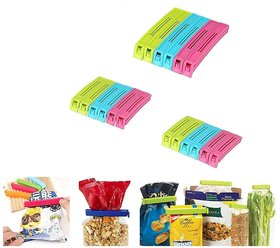 Kudos 18Pc 3 Different Size Plastic Food Snack Bag Pouch Clip Sealer for Keeping Food Fresh for Home Kitchen Camping