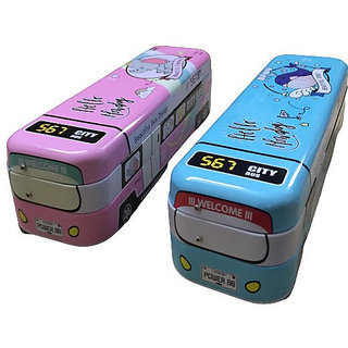 Metal String Operated Bus Pencil Box for School with Pull Back and Wheels (Multi color)