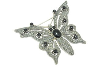 Handmade Butterfly Brooch 925 Sterling Silver Marcasite and Black Cabachon Stone