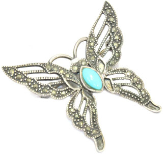 Handmade Butterfly Brooch 925 Sterling Silver Marcasite and Blue Cabachon Stone