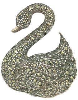 Handmade Swan Bird Brooch Oxidized 925 Sterling Silver Marcasite Stones B