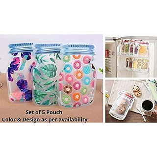 Brand World Jar Bottle Shaped Stand up Pouch, Jar Zipper Bags Seal Fresh Food Storage Bag for Cookies (Pack of 5)