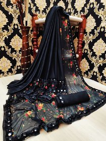 Digital print New Malay Lycra silk Saree With Mirror Lace Border Party wear black Saree